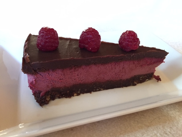 Raw Chocolate Raspberry Cream Brownie Cake